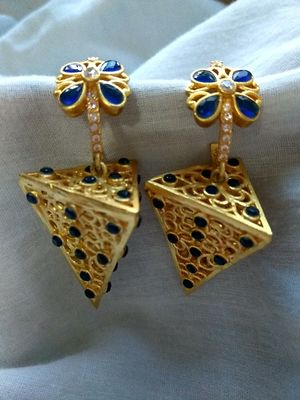 Golden &Blue Indo western Earrinfs