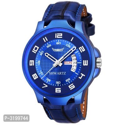 Blue Synthetic Strap Day And Date Watch For Men