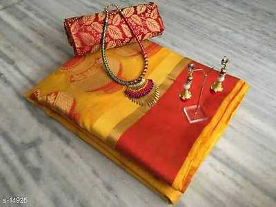 Tussar silk with jacquard blouse n blouse latkan, necklace...saree length 6.3 mtrs blouse attached