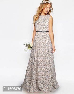 Off White Printed Maxi Length Fit And Flare Dress