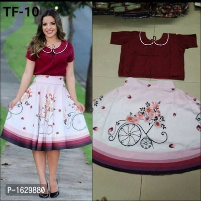 Maroon & White Women's Digital Printed Skirt & Top [HC-A-TF-10]