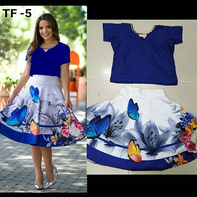 Blue & White Women's Digital Printed Skirt & Top [HC-A-TF-5]