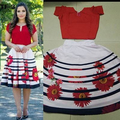 Red & White Women's Digital Printed Skirt & Top [HC-A-TF-3]