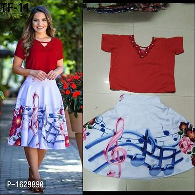 Red & White Women's Digital Printed Skirt & Top [HC-A-TF-11]