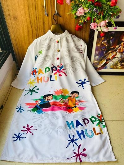 Women's Butter Silk With Digital Print Kurti for Holi Festival