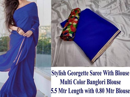 Blue Solid Georgette Saree with Blouse piece