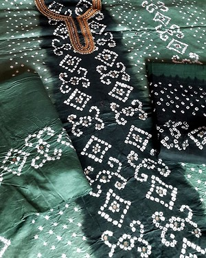 Shaded Green Bandhini with embroidered neck cotton unstitched Salwar Kameez suit dress material