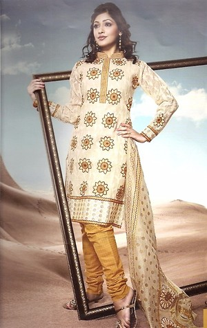 Silk White and Gold embroidered Unstitched Salwar Kameez