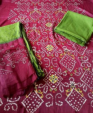 Plum And Green Bandhini Cotton Embroidered Unstitched Salwar Kameez Dress Material