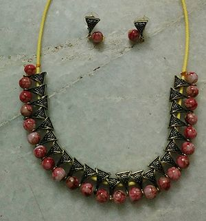 Beads n bails necklace with matching earrings