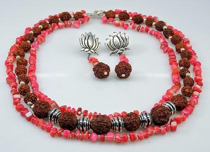 Rudraksh & Pink Necklace Set