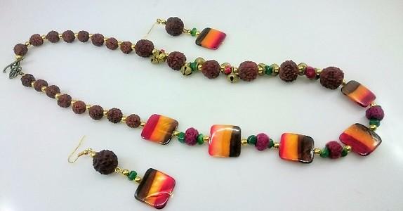 Jazzy Rudraksh Necklace Set