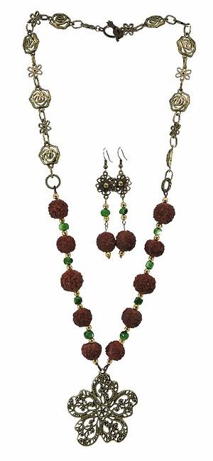 Rudraksh Flower Necklace Set