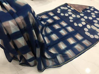 Chanderi silk with blouse free shipping