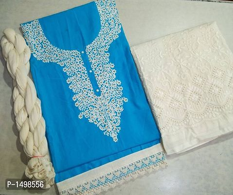 Blue  Hand Work Embroidered Dress Material