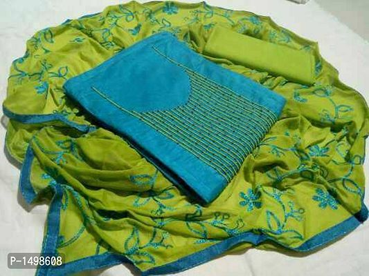 Blue Chenderi Hand Work Embroidered Dress Material