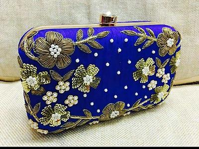 Exclusive launch✨✨✨ Heavy embroidery bridal clutches ✨✨ Leatherette interiors Detachable chains 6.5*4.5