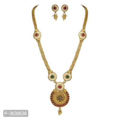 Women's Beautiful Golden Plated Long Necklace Set
