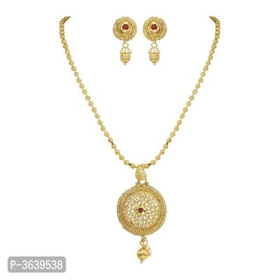 Women's Beautiful Golden Plated Pendant Necklace Set