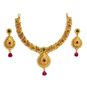 Gold Forming (2 GM) Calcutti Necklace Set Code - Afan001