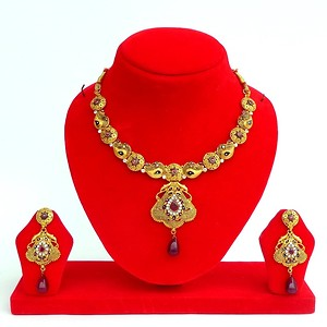 Gold Forming (2 GM) Calcutti Necklace Set Code - Afan003