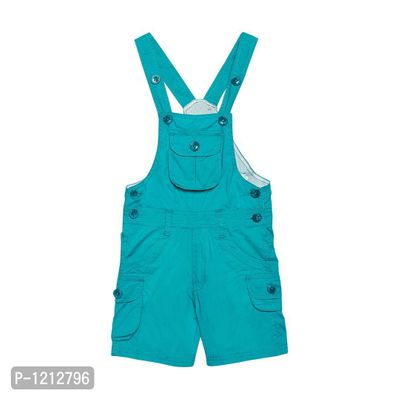 Cotton Knee Length Turquoise Dungaree