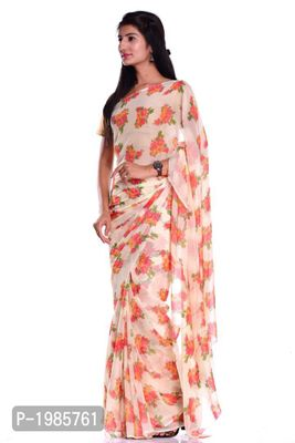 Pink Flower Chiffon Printed Saree