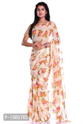 Multicoloured Flower Chiffon Printed Saree