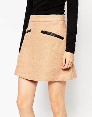 Brown Cotton Lycra Skirt with Leather Pocket Detailing