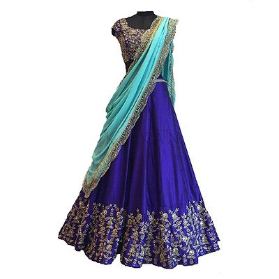 Blue Embroidered Semi Stitched Lehenga