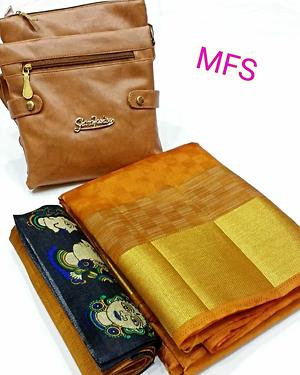 sarees with extra blouse and bag