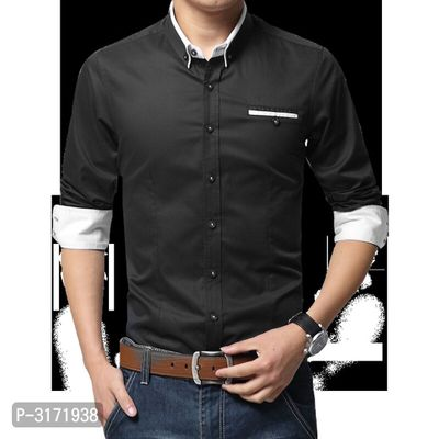 Men's Black Cotton Long Sleeves Solid Regular Fit Casual Shirt