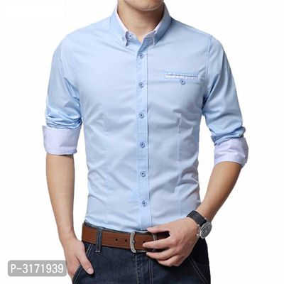 Men's Blue Cotton Long Sleeves Solid Regular Fit Casual Shirt