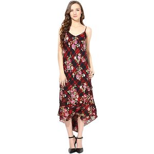 Rose Vanessa Red & Black Printed Midi Dress with Shrug