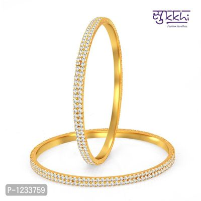 Glimmery Gold Plated Set OF 2 Australian Diamond Two Line Bangles