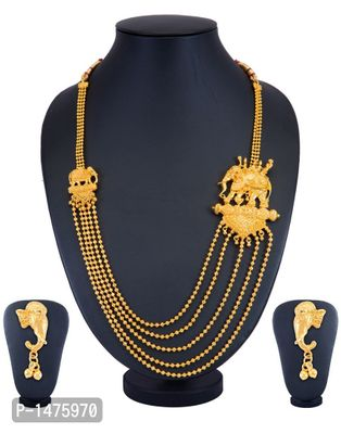 Alluring 5 String Bahubali Inspired Gold Plated Necklace Set