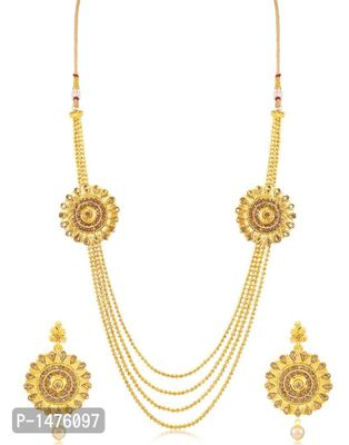 Attractive Round Shaped 4 String Gold Plated Necklace set