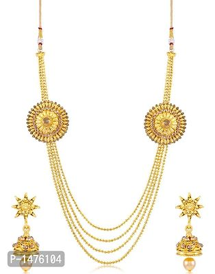 Beguiling 4 String Round Gold Plated Necklace set