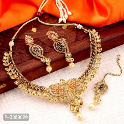 Cluster Lct Stone Gold Plated Necklace Set For Women