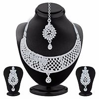 Rhodium Plated AD Necklace Set by Sukkhi