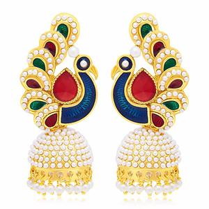 Sukkhi Pleasing Peacock Gold Plated Earring