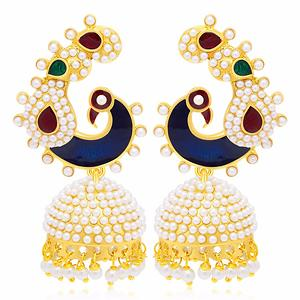 Sukkhi Fascinating Peacock Gold Plated Earring