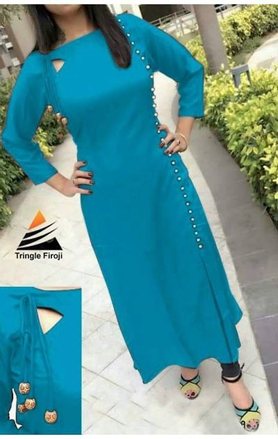 Rayon Kurti With Pearl Buttons And Dori