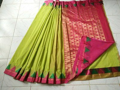 Silk cotton material Korvai Saree  With attached contrast pink color blouse