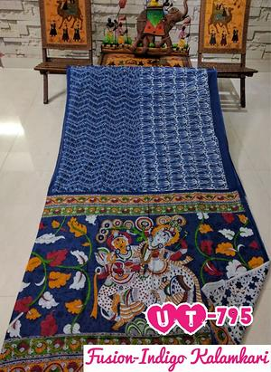 Indigo dabu print with Kalamkari Design in the pallu. We have reloaded our fabulous collection of modern hand block