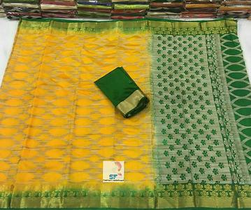 SFs organza silk with kicha work, rich contrast pallu and blouse Rs1399+$ retail 9860173203