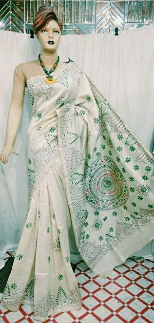 🦋🦋 *ASSAM SILK* WITH  *KANTHA STICH* SAREE WITH BLOUSE RS.2200+SHIPPING (INCLUDING ALL TAXES) 20 pictures 9860173203