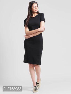 Black Cotton Knee Length Dress For Women's And Girl's