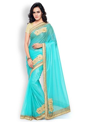 Women's New Sky Blue Georgette Saree With Blouse Piece
