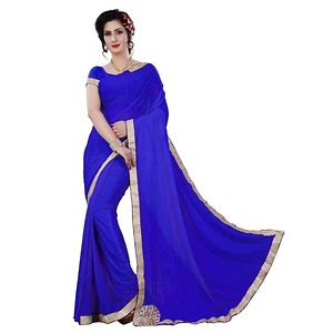 Women's New Blue Crepe Saree With Blouse Piece